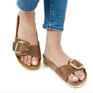 Birkenstock Madrid big buckle brown gold sandal 37